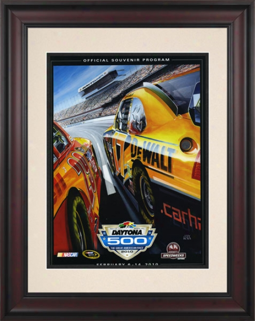 52nd Annual 2010 Daytona 500 Framed 10.5 X 14 Program Impress