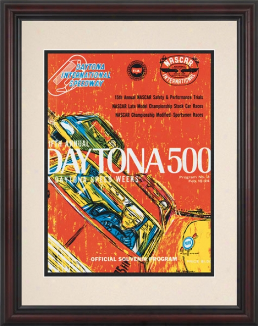 5th Annual 1963 Daytona 500 Framed 8.5  X 11 Program Print