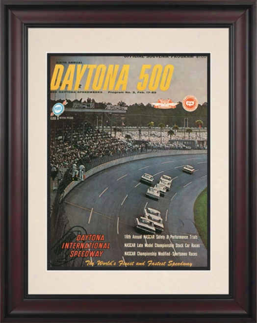 6th Annual 1964 Daytona 500 Framed 10.5 X 14 Program Print