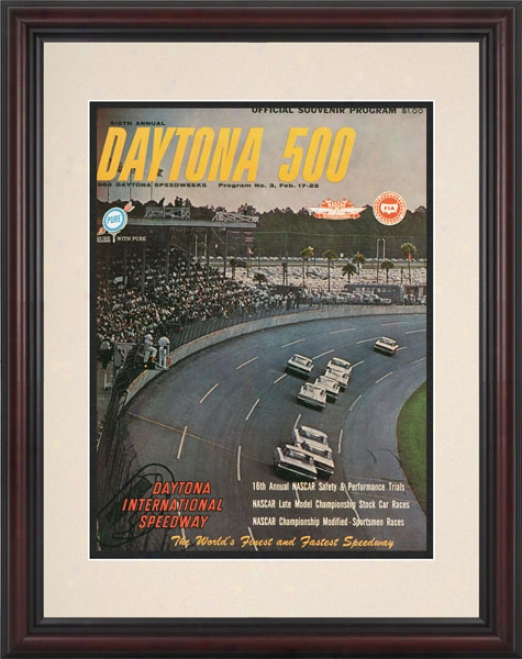 6th Annual 1964 Daytona 500 Framed 8.5  X 11 Program Print