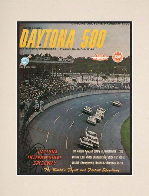 6th Annual 1964 Daytona 500 Matted 10.5 X 14 Program Mark