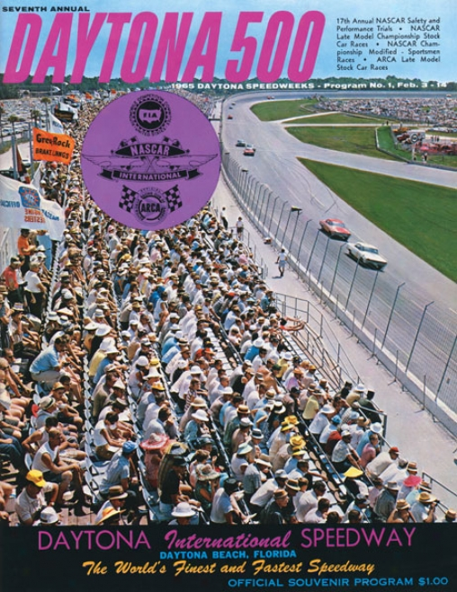 7th Annua 1965 Daytona 500 Canvas 22 X 30 Program Print