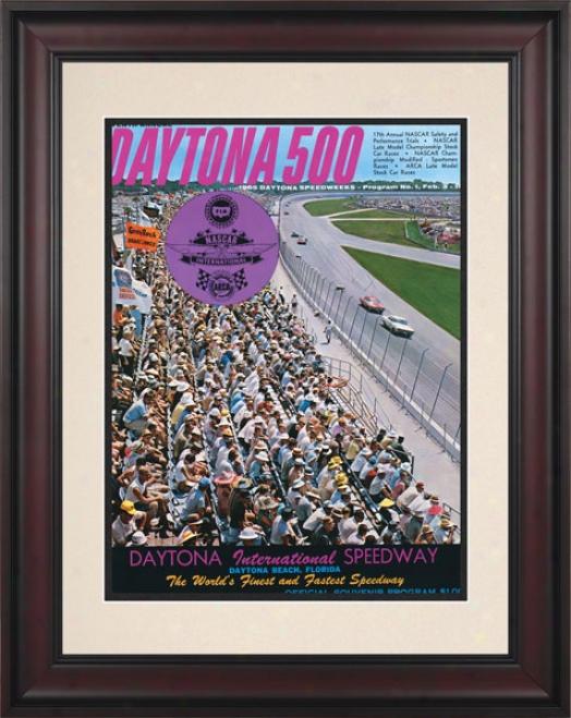 7th Annual 1965 Daytona 500 Framed 10.5 X 14 Program Print