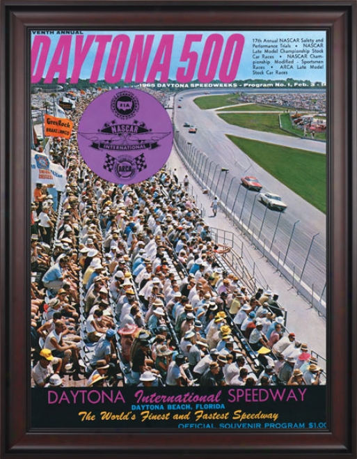 7th Annual 1965 Daytona 500 Framed 36 X 48 Program Newspaper