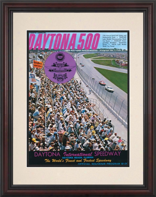 7th Annual 1965 Daytona 500 Framed 8.5  X 11 Progrram Print