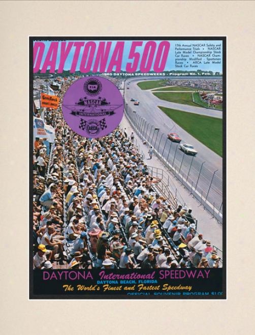 7th Annual 1965 Daytona 500 Matted 10.5 X 14 Program Print
