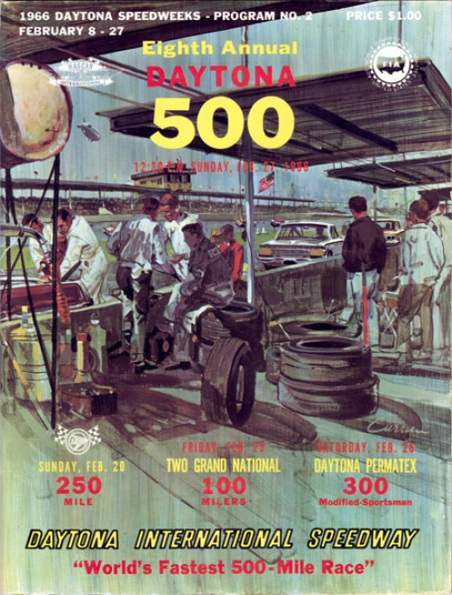 8th Yearly 1966 Daytona 500 Canvas 22 X 30 Program Print