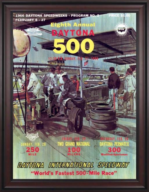 8th Annual 1966 Dayt0na 500 Framed 36 X 48 Program Print