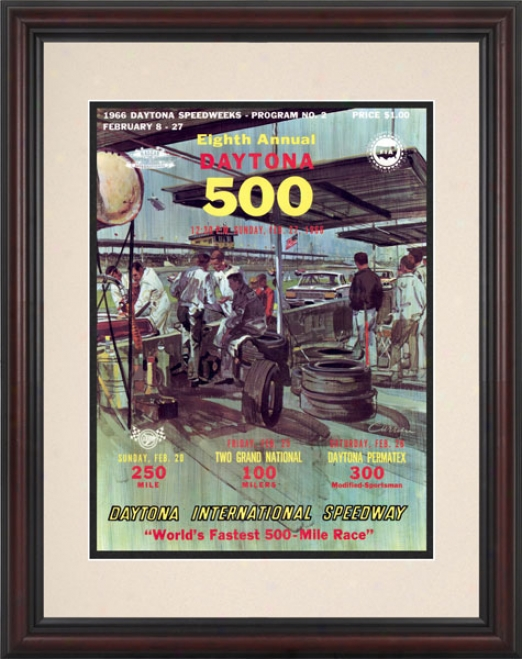 8th Annual 1966 Daytona 500 Framed 8.5  X 11 Program Print