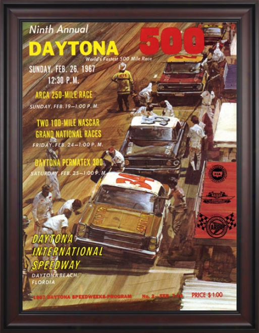 9th Annual 1967 Daytona 500 Framed 36 X 48 Program Print