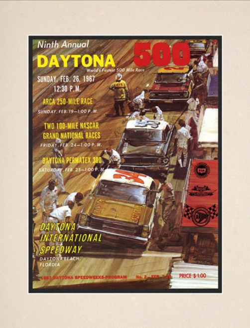 9th Annual 1967 Daytona 500 Matted 10.5 X 14 Program Print