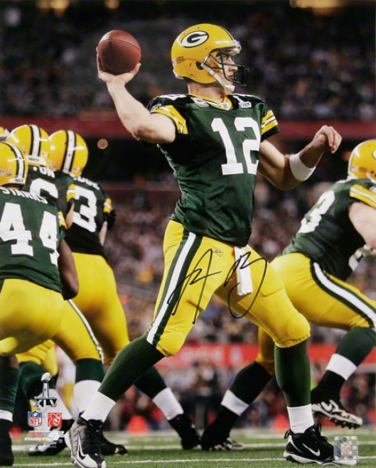 Aaron Rodgers Autographed Photograph  Details: Green Ba yPackers, Super Bowl Xlv Champions, 16x20