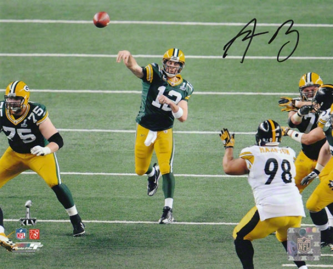 Aaron Rodgers Autographed Photograph  Details: Green Bay Packers, Sb Xlv Sur~ly, 8x10