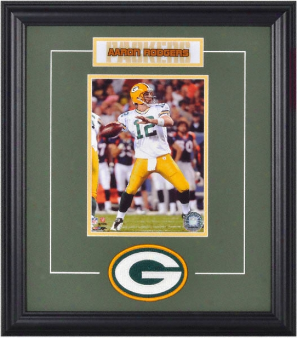 Aaron Rodgers Framed 6x8 Photograph With Team Logo & Plate