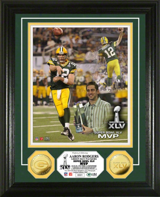 Aaron Rodgers Green Bay Packers Super Bowl Xlv Champions Mvp 24ktt Gold Prop Photo Mint