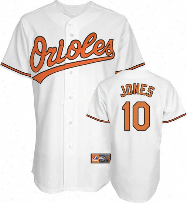 Adam Jones Jersey: Adult Majestic Home White Replica #10 Baltimore Orioles Jersey