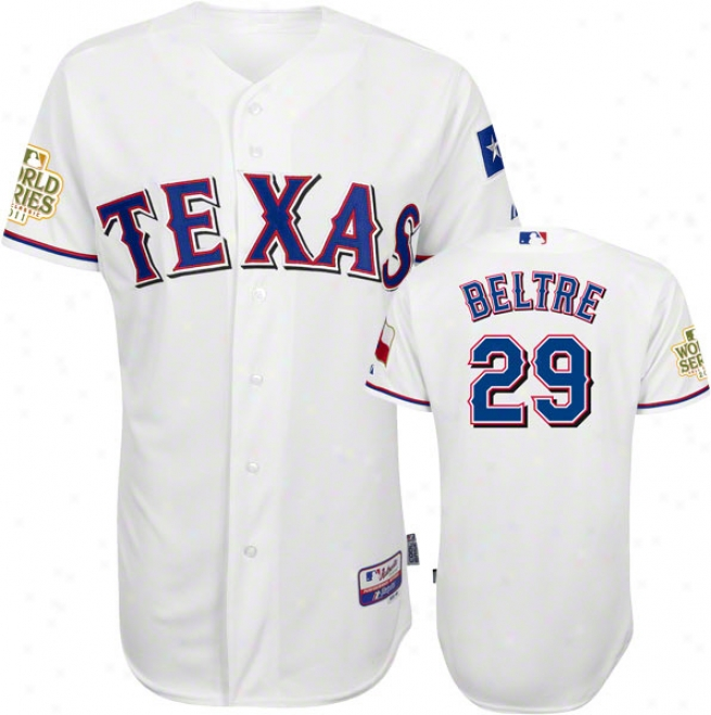 Adrian Beltre Jersey: Texas Rangers #29 Home White Genuine Cool Baseã¢â�žâ¢ Jersey With 2011 World Succession Participant Patch