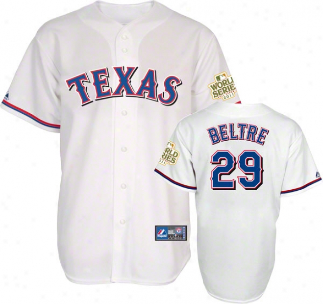 Adrian Beltre Jersey: Texas Rangers #29 Home White Replica Jersey With 2011 World Succession Participant Patch