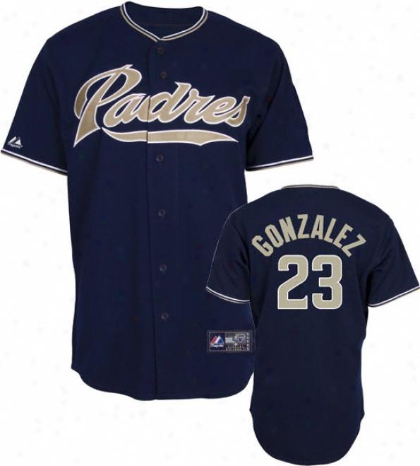 Adrian Gonzalez Jersey: Adult Majestic Alternate Navy Autograph copy #23 San Diego Padres Jersey