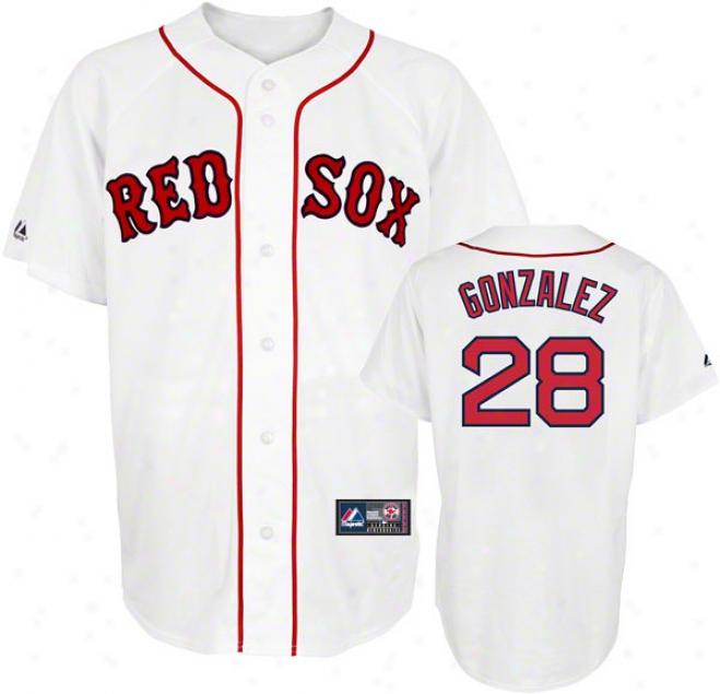 Adrian Gonzalez Jersey: Adult Majestic Hpme White Replica #28 Boston Red Sox Jersey