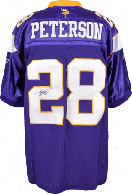 Adrian Peterxon Autographed Jersey  Details: Minnesota Vikings, Purple, With 50 Years Patch
