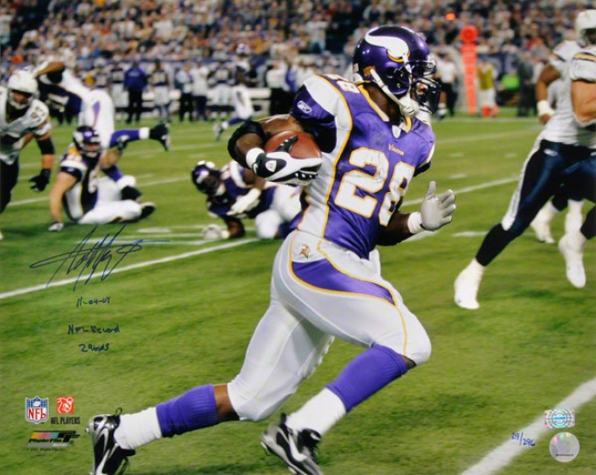 Adrian Peterson Minnesota Vikings Autographed 16x20 Photograph With 11-4-07 Nl Record 296 Yds