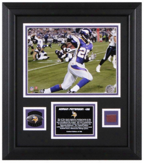 Adrian Peterson Minnesota Vikings Framed 8x10 Photograph With Game Used Football, Medallion And Plate