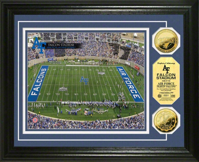 Air Force Falcons Falcon Stadium 24kt Gold Coin Phlto Mint