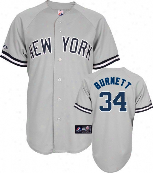 A.j. Burnett Jersey: Adult Majestic Path Grey Replica #34 New York Yankees Jersey