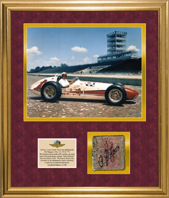 A.j. Foyt Framed 11x14 Photograph With Autographed Piece Of Brick From Indianapolis Speedway