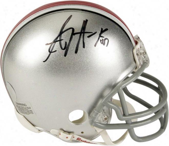 A.j. Hawk Ohio State Buckeyes Autographed Riddell Mini Hemet