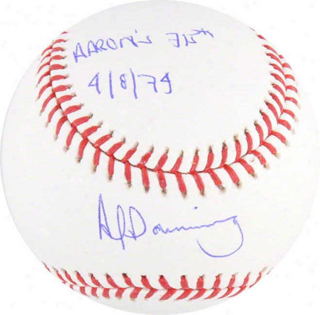 Al Downing Autographed Baseball  Dettails: Aaron's 715th 4-8-74 Inscription
