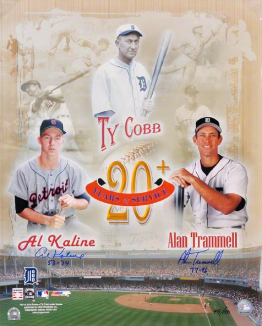 Al Kaline And Alan Trammell Detroit Tigers 16x20 Autobraphed Collage Photograph