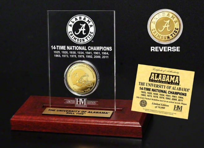 Alabama Crimson Tife 14-time National Champions Commemoratige Gold Coin In Etched Acrylic Display
