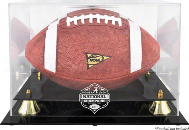 Alabama Crimson Tide 2011 Bcs National Champions Golden Classic Football Display Case With Reflector In a ~ward direction