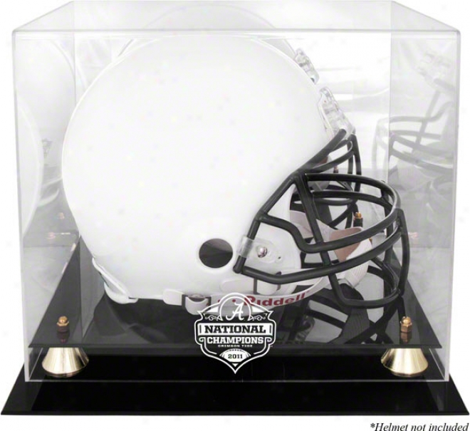 Alabama Crimson Course 2011 Bcs National Champions Golden Classic Helet Display Case With Mirror Back