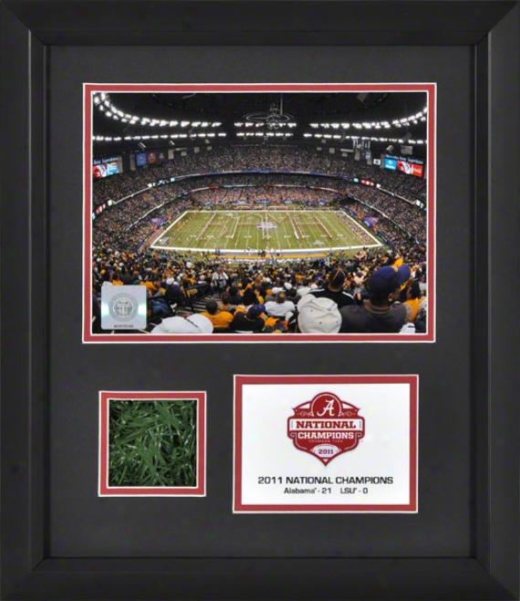 Alabama Crimson Tide Framed 6x8 Phofograph  Details: 2011 Bcs Public Champions, Through  Game Used Turf
