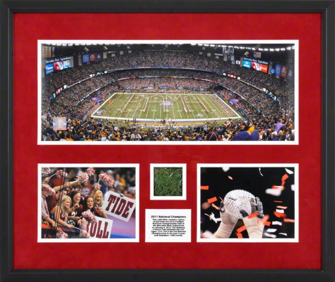 Alabama Crimson Tide Framed Mini Panoramic Collage  Details: 2011 Bcs National Champions, With Game Used Turf
