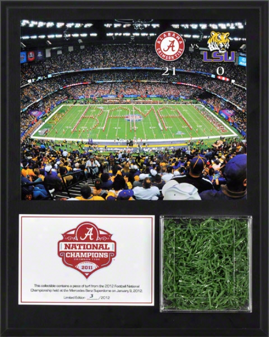 Alabama Crimson Tide Sublimated 12x15 Plaque  Details: 2011 Bcs National Champions, With Game Used Turf