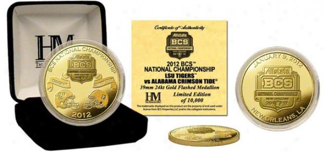 Alabama Crimson Tide Vs Lsu Tigers 2011 Bcs National Game Dueling Commemorative Gold Coin