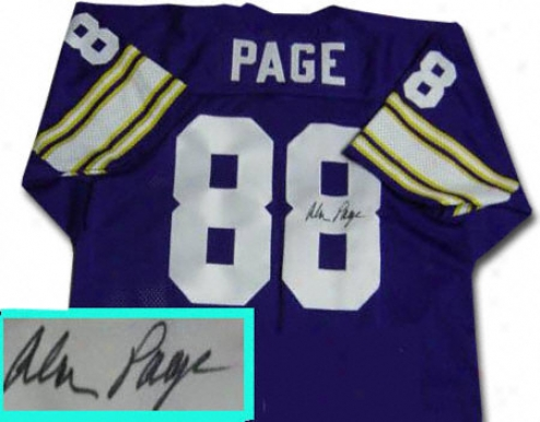 Alan Page Minnesota Vikings Autograpyed Throwback Purple Jersey