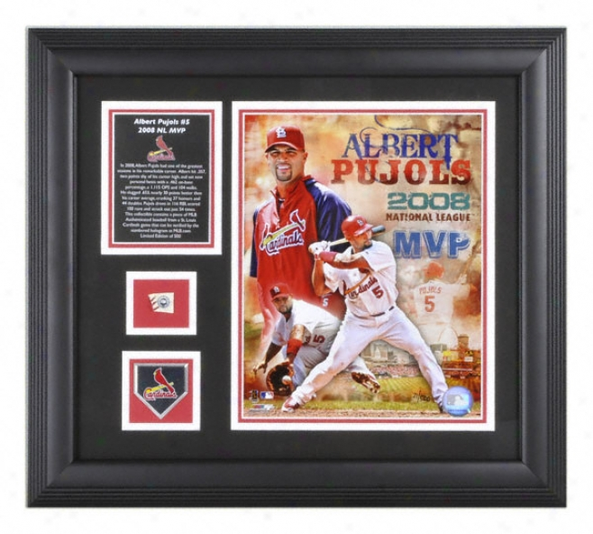 Albert Pujols 2008 Nl Mvp Framed 8x10 Photograph With Baseball Piece, Descriptive Plate And Team Medallion
