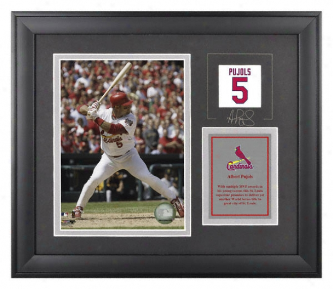 Albert Pujols Framed 6d8 Photograph  Details: St. Louis Cardinals, With Facsimile Signature