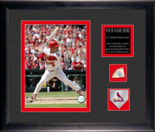 Albert Pujols Framed 6x8 Photograph With Personalized Plate, Game Used Baseball Piece And Team Medallion