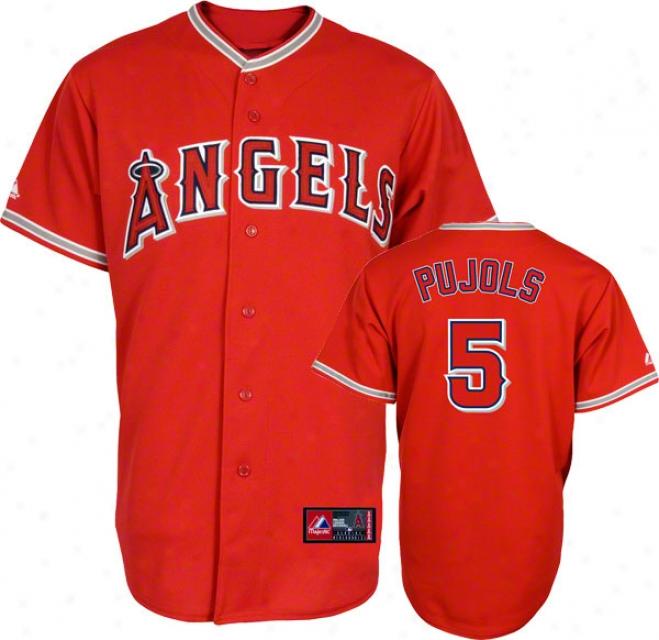 Albert Pujols Jersey: Adjlt Splendid Alternate Red Replica #5 Los Angeles Angels Of Anaheim Jersey
