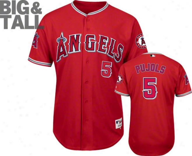 Albert Pujols Los Angeles Angels Of Anaheim Big & Tall Scarlet #5 Authentic Jersey