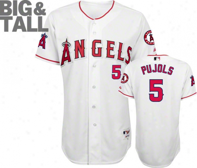 Albert Pujols Los Angeles Angels Of Anaheim Big & Tall White #5 Authentic Jersey