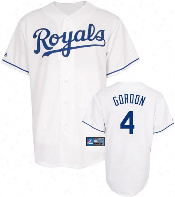 Alex Gordon Jersey: Adult Majestic Home White Replica #4 Kansas City Royals Jersey
