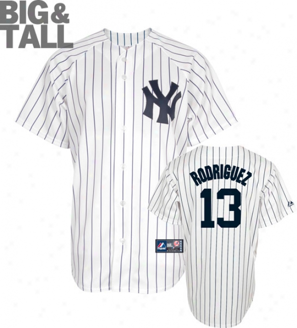 Alex Rodriguez Big & Tall Jersey: Adult Home Pinstripe Replica #13 New York Yankees Jersey