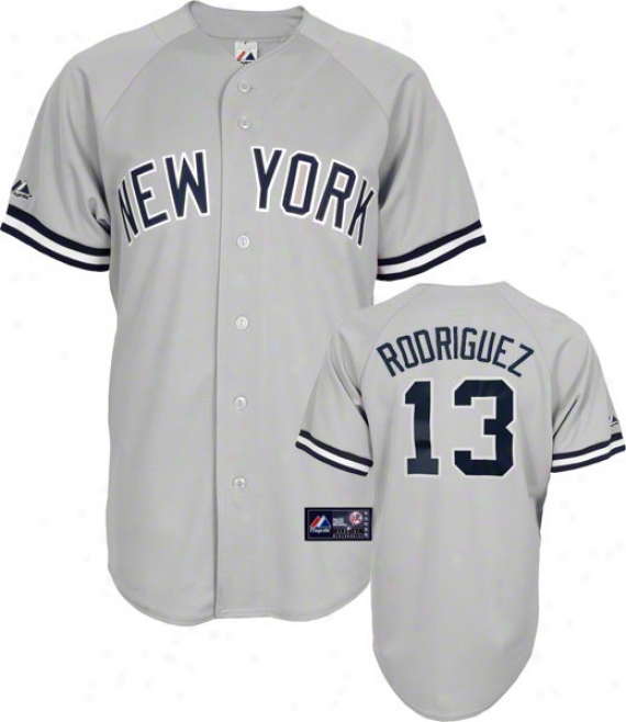 Alex Rodriguez Jersey: Adult Majestic Road Grey Replica #13 New York Yankees Jersey